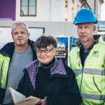 4. Arkeologerna Michel Carlsson och John Hedlund samt fd stadsantikvarie Marianne Råberg. Foto Johan Palmgren