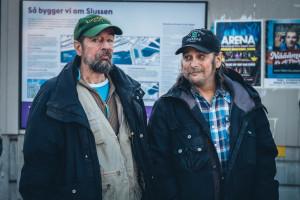6. From left friends Matte and Pekka monitor what happens at Slussen. Photo Johan Palmgren
