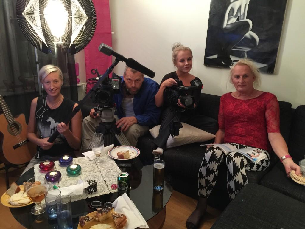 Inspelning av Hockey och höga klackar med Lisa Gustafsson, Johan Palmgren, Lina Steen och Mikke