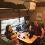 Martina Carlstedt, Emanuel Hendal, Lisa Gustafsson, Johan Palmgren på väg till invigning av bocken