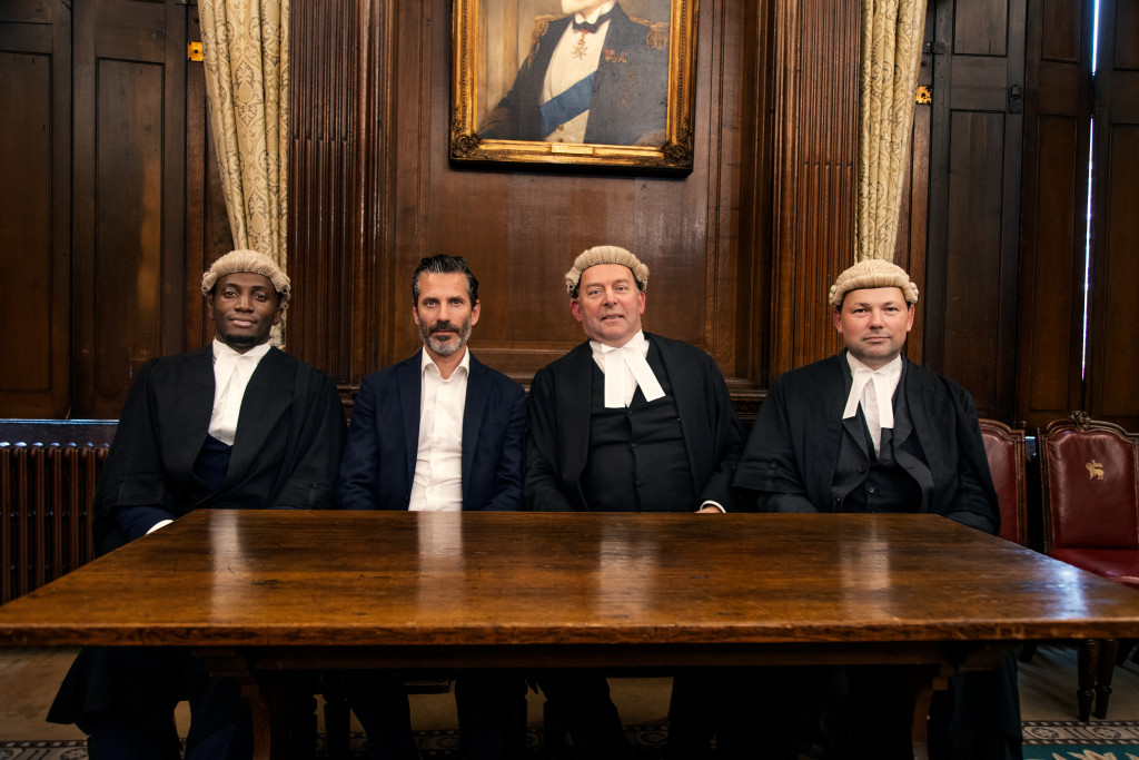 Peter Eguae, Jens Lapidus, Jonathan Higgs (QC) och William Davis. Middle Temple, London. Foto: Johan Palmgren.