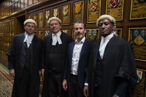 William Davis, Jonathan Higgs QC, Jens Lapidus och Peter Eguae. Middle Temple, London. Foto: Johan Palmgren.